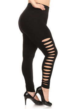 Premium Plus Size Side Slashed Seamless Leggings