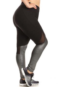 Wholesale Duo Blend Mesh Plus Size Sport Leggings