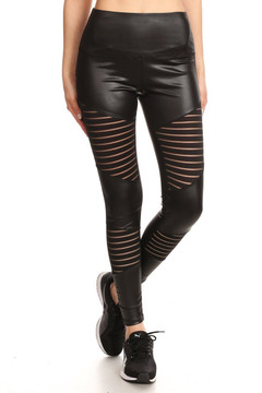 Wholesale Premium Serrated Mesh Panel Smooth Sport Leggings