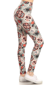 Wholesale Buttery Soft Creamsicle Sugar Skull High Waisted Leggings