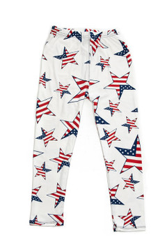 Wholesale Buttery Soft Ivory USA Flag Kids Leggings