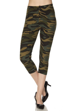 Wholesale Buttery Soft Green Camouflage Plus Size Capris