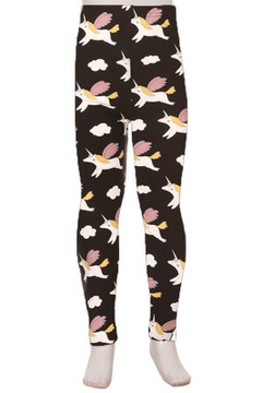 Wholesale Buttery Soft Cute Flying Unicorns Kid's Leggings