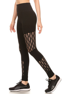 Wholesale Premium High Waisted Shred Mesh Sport Leggings