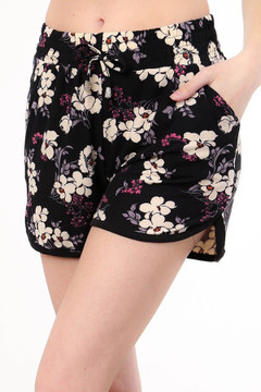 Wholesale Buttery Soft Ivory Petal Floral Dolphin Shorts