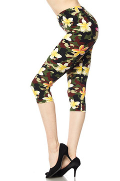 Wholesale Buttery Soft Floral Fresh Camouflage Plus Size  Capris
