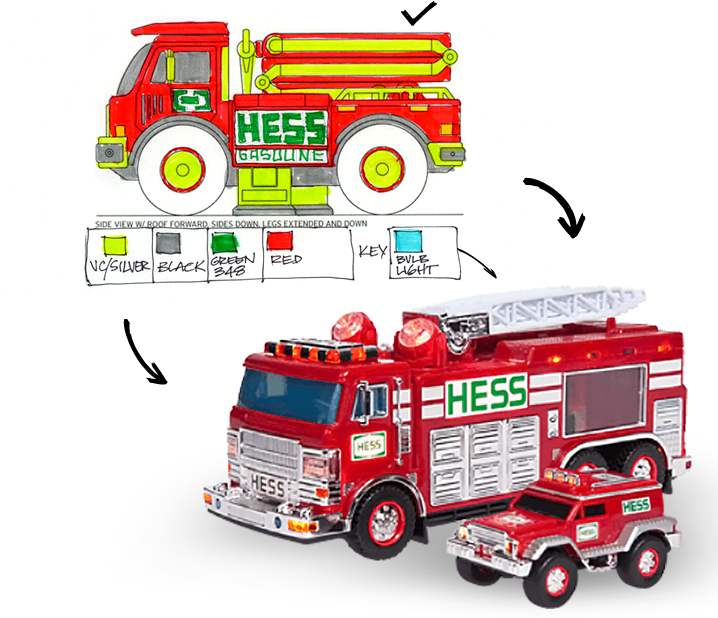 Comparison of Hess Toy Truck Illustration vs Final Product