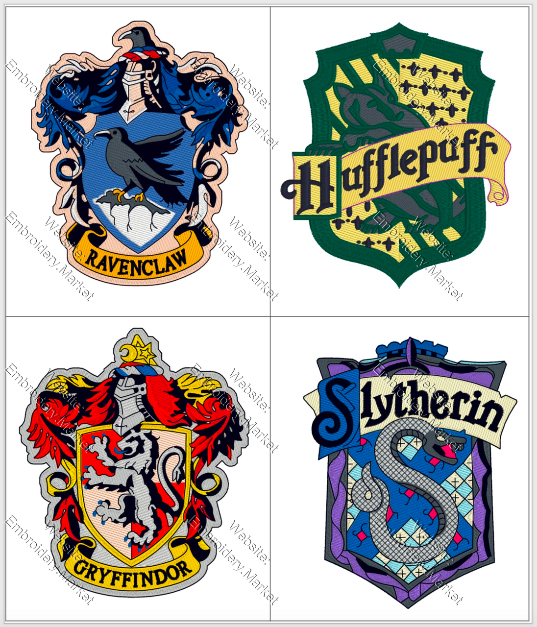 Harry Potter Ravenclaw Gryffindor Hufflepuff Slytherin Embroidery
