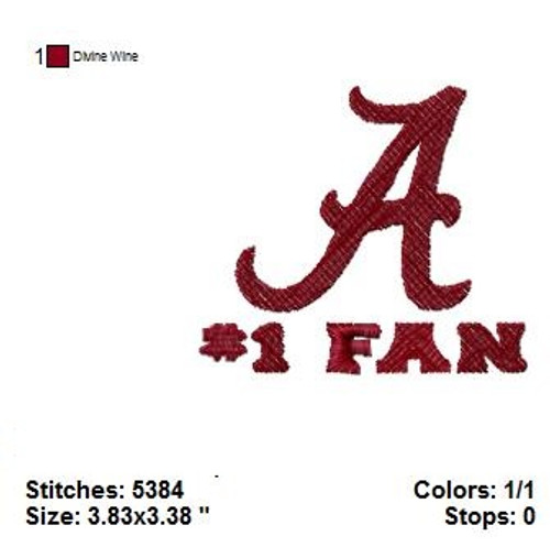 #1 Fan Alabama Crimson Tide Sports Team Machine Embroidery Designs Instant Download