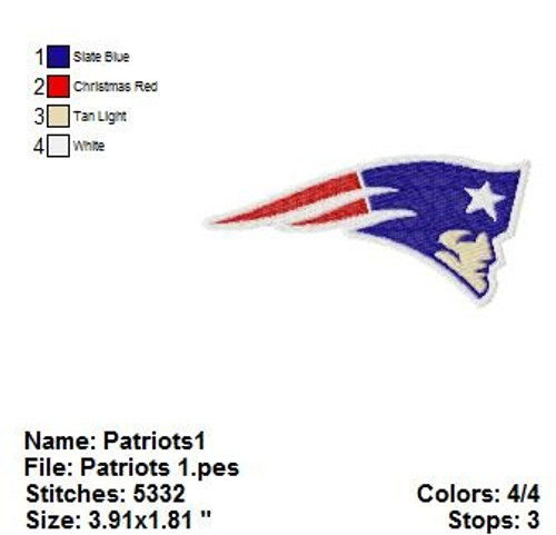 New England Patriots NFL Logo Embroidery Designs Instant Download 4x4 hoop