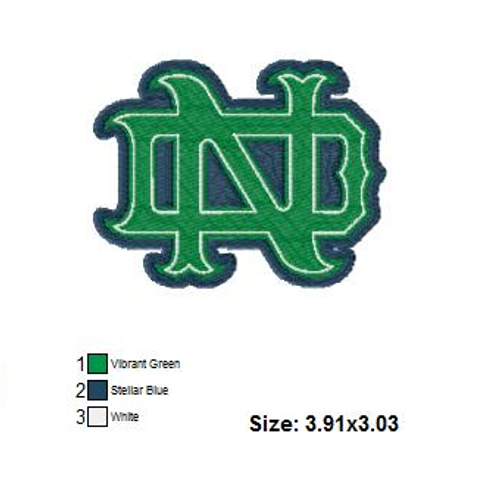 Notre Dame Logo University Filled Sports Team Embroidery Designs Instant Download 4x4 hoop