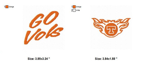 Set of 2 Tennessee Volunteers Sports Team Embroidery Designs Download