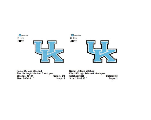 Set of 2 Kentucky Wildcats football University Sports Team Embroidery Designs Download