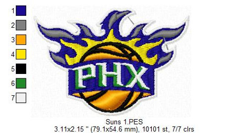 Phoenix Suns NBA Basketball Team Sports Embroidery Designs Download