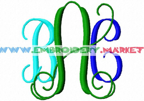VINE MONOGRAM Machine Embroidery Designs Fonts Instant Download
