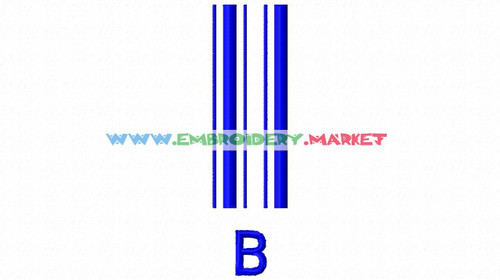 BARCODE Machine Embroidery Designs Fonts Instant Download