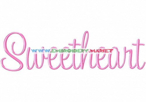 SWEETHEART Machine Embroidery Designs Fonts Instant Download