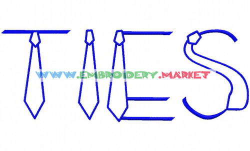 TIES Machine Embroidery Designs Fonts Instant Download