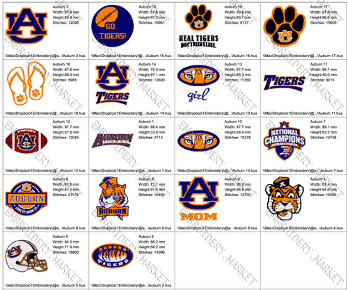 AUBURN UNIVERSITY TEAM LOGOS EMBROIDERY MACHINE DESIGNS INSTANT DOWNLOAD