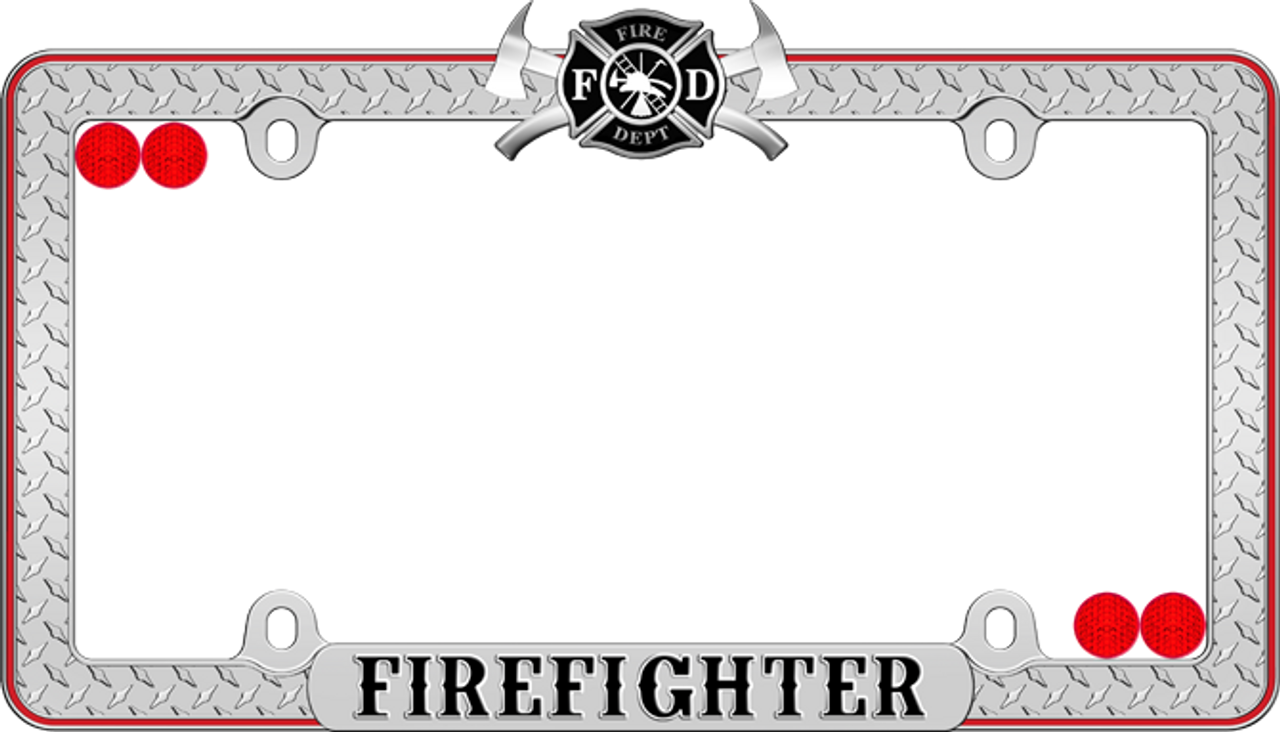 Firefighter License Plate Frame Chrome Black Red - CarDetails.com