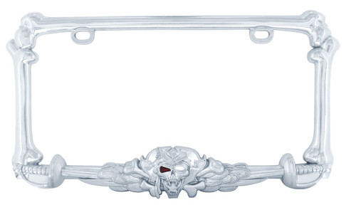 Pirate Skull and Sword License Plate Frame Chrome