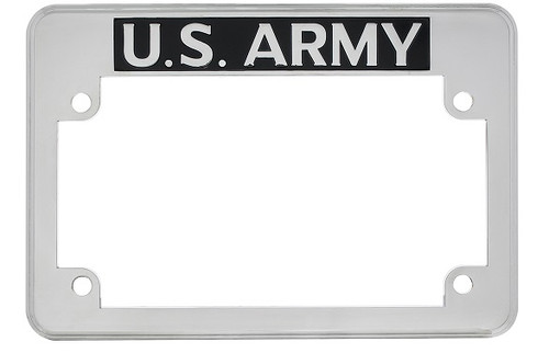 US Army Motorcycle Military License Plate Frame Chrome