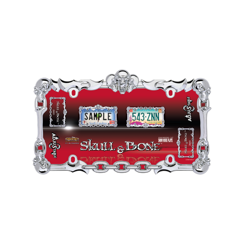 Skull and Bone License Plate Frame Chrome