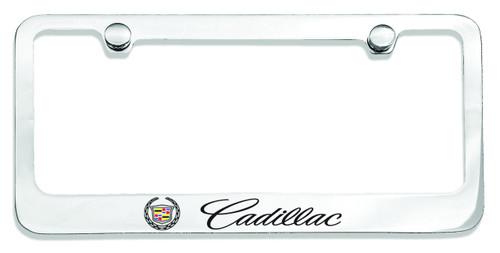 Cadillac with Crest Logo License Plate Frame Chrome - CarDetails.com