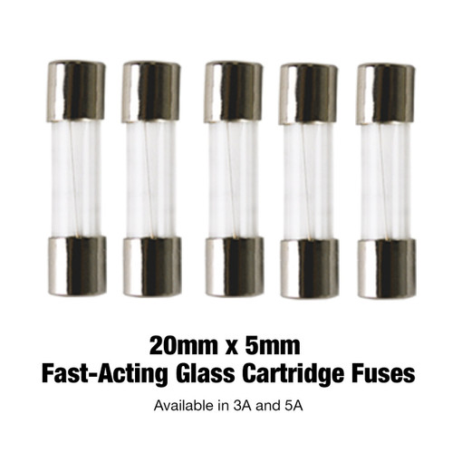 Fast-Acting Glass Cartridge Fuse, 20mm x 5mm, Barrel Fuses, 5 Pack