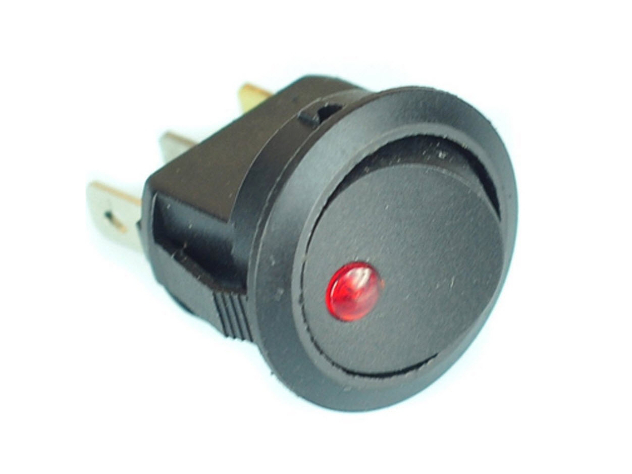 12v Round Rocker Toggle Switch With Led Indicator Light Lighted Spst All Electronics Corp