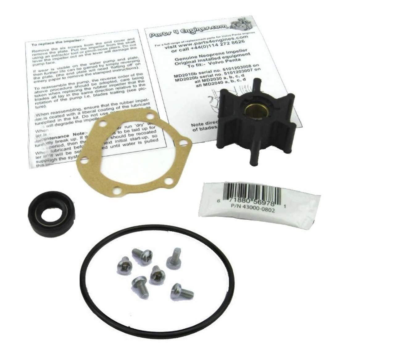 Volvo Penta D1-13 Raw water pump service kit from parts4engines.com