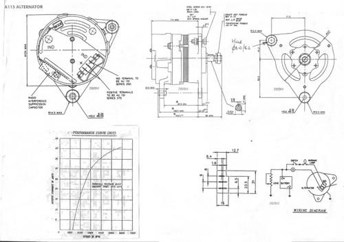 Perkins 4.99 Alternator 12V 45 amp