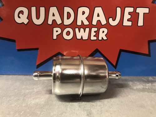 "Fuel filter, in line chrome canister with 3/8"" fuel inlet"