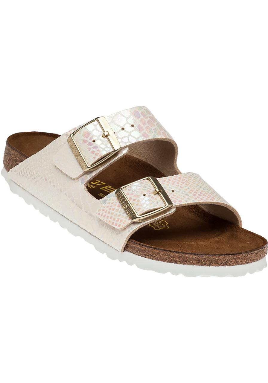 Arizona Shiny Cream Snake Print Sandal Jildor Shoes Strape On