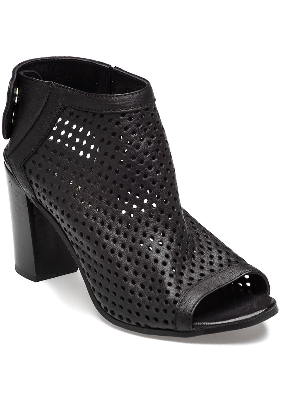 Perforated Bootie Black Leather Jildor Shoes