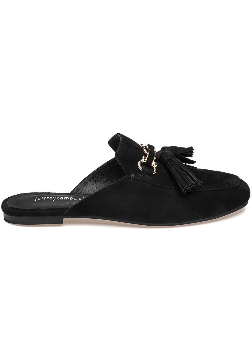 Apfel Black Suede Tassel Mule Jildor Shoes