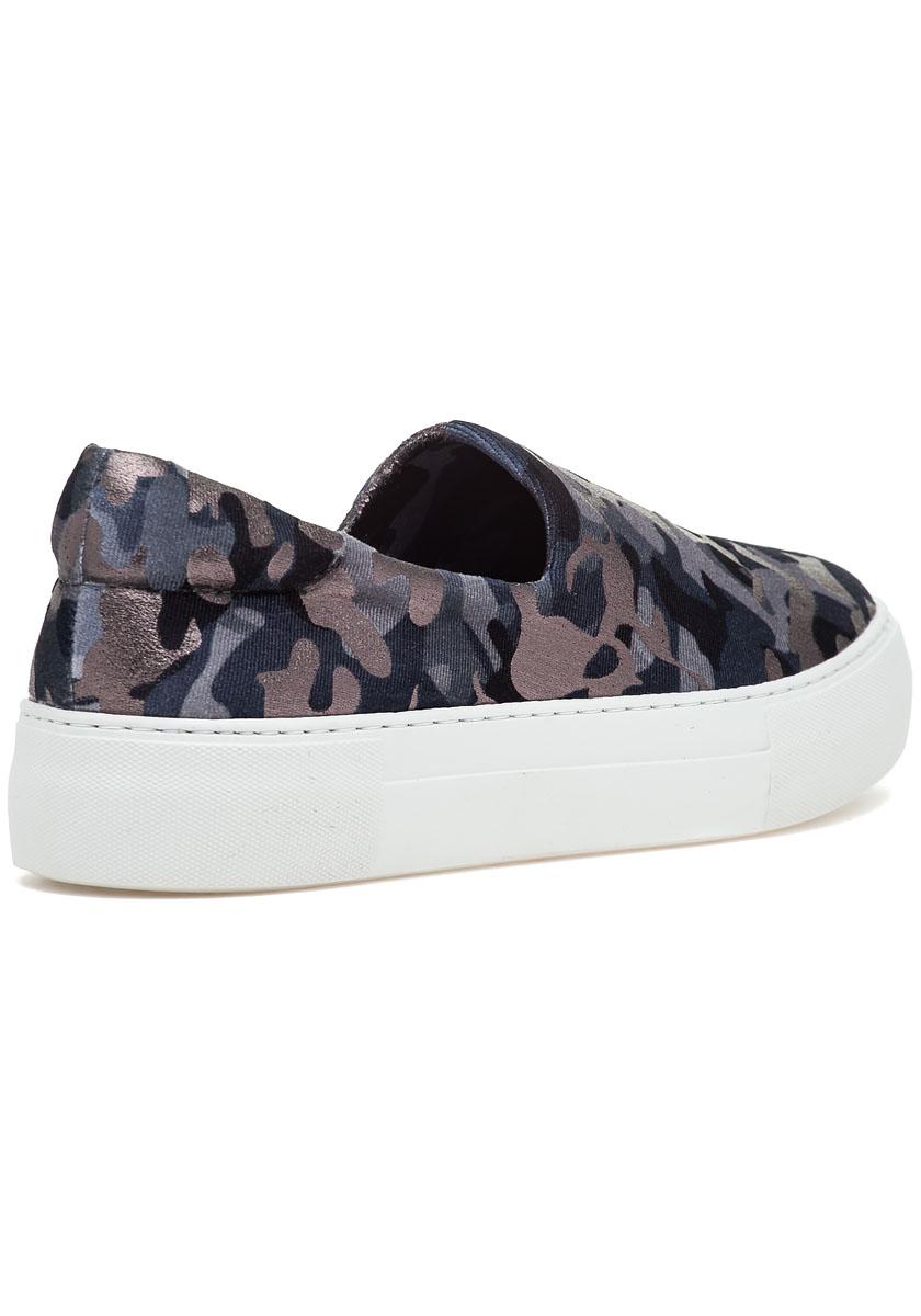 Ariana Slip On Sneaker Grey Camo Fabric Jildor Shoes
