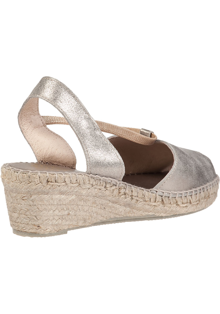 Dainty Wedge Espadrille Pewter Leather Jildor Shoes