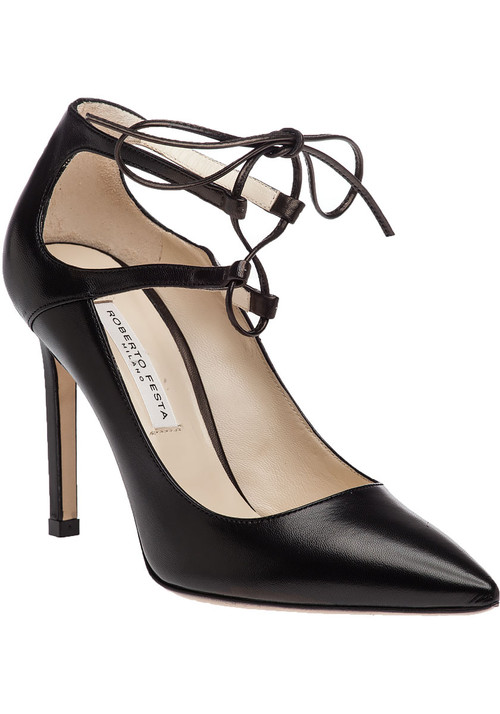 """The perfect LBP (little black pump) to add to your wardrobe. Complete with an on-trend lace up design  this pump will quickly become your go-to  black  shoe for every occasion.Leather upper Leather lining Leather sole Ghillie lace up design Approx. 4"""" heel Made in Italy"""