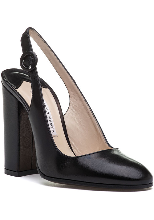 """Roberto Festa is offering a classic sling back with an updated and modern flare. Not only will you be trendier  but you will also be walking in ease in these beautiful block heels. Dress them down in a pair of jeans and blouse or dress them up in a little black dress. Leather upper Adjustable sling strap and buckle Leather lining Cushioned footbed Approx. 4.25"""" covered heel Leather soles Made in Italy"""