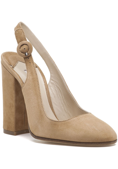 """Roberto Festa is offering a classic sling back with an updated and modern flare. Not only will you be trendier  but you will also be walking in ease in these beautiful block heels. Dress them down in a pair of jeans and blouse or dress them up in a little black dress. Suede upper Adjustable sling strap and buckle Leather lining Cushioned footbed Approx. 4.25"""" covered heel Leather soles Made in Italy"""