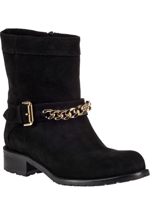 """A staple look with this biker-inspired ankle boot. Simply sleek with just a touch of detail keeps the silhouette versatile while a stacked heel adds urban-minded lift. Ideal for crafting leggy looks  this boot stays timeless season after season.Suede upperFaux adjustable strap with gold-tone detailingFull inside zippered entryLeather liningCushioned leather footbedRubber lug soleApprox. 1.25"""" stacked heelMade in Italy"""