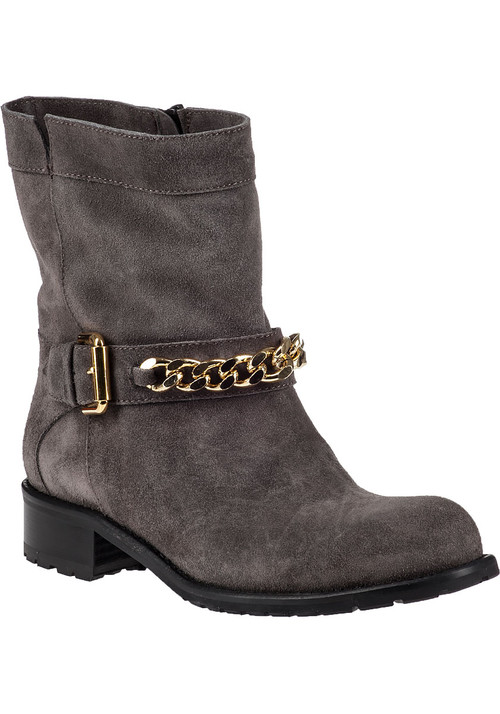 """Crafted from lightly distressed suede  Jildor's 1377 boots have been subtly embellished with a gold-chain laden strap anchored with faux buckle. The sturdy heel and lug sole ensure superior traction and all-day comfort. Wear yours with distressed denim.Suede upperFaux adjustable strap with gold-tone detailingFull inside zippered entryLeather liningCushioned leather footbedRubber lug soleApprox. 1.25"""" stacked heel"""