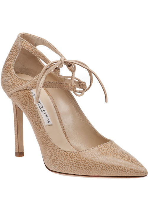 """A beige suede pump with a unique glossy micro leopard print. This neutral pump has the perfect amount of eye catching detail to add allure to any outfit you wear it with. Suede upper Leather lining Leather sole Ghillie lace up design Glossy micro leopard print Approx. 4"""" heel Made in Italy"""