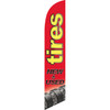 Tires New & Used (red background, yellow letters) Semi Custom Feather Flag Kit