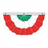 Italy Red White Green Pleated Bunting 3'x6'