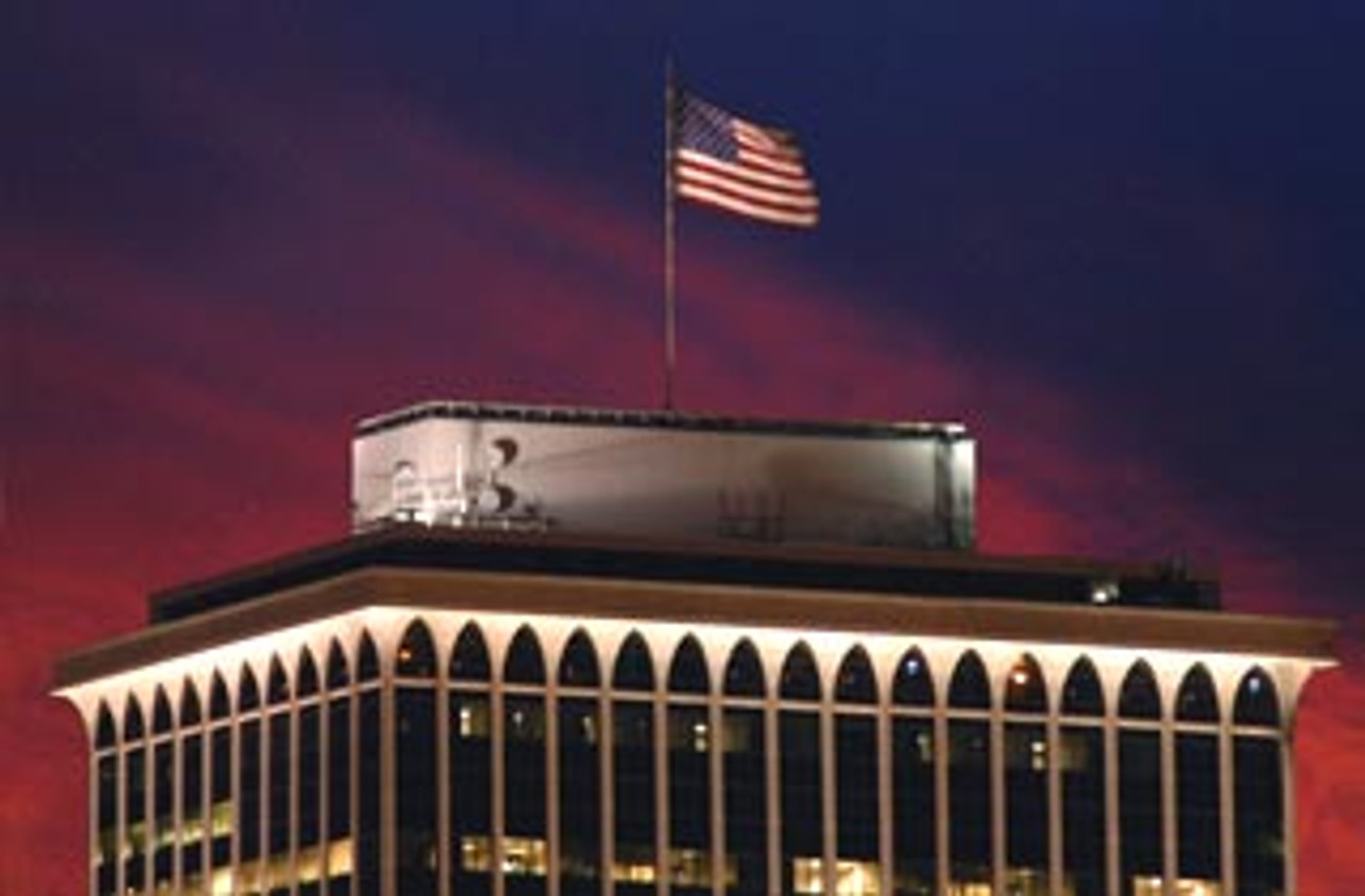One of our original Test Sites. This 20 x 30 foot flag is on top of a 34 story building.