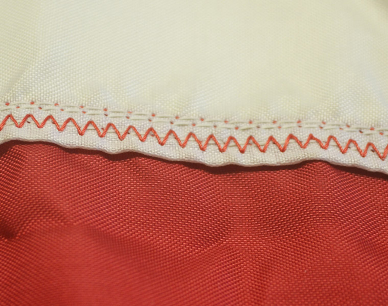 Our Special Zig Zag Stitching Using Our Extra Strength Thread. This is added to each Red and White Stripe to Prevent Tearing.