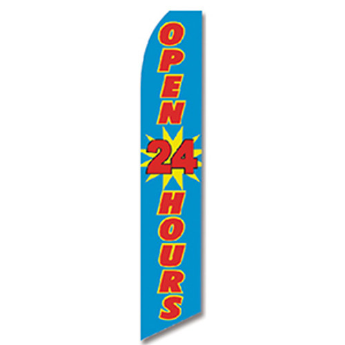 Open 24 Hours (Blue with Red Text) Feather Flag