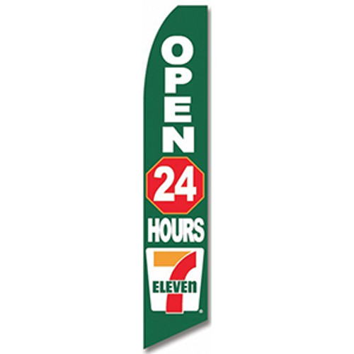 7 Eleven - Open 24 Hours - Feather Flag